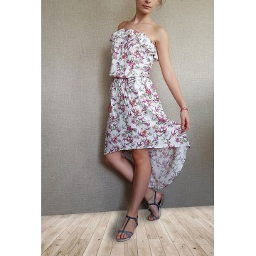Асиметрична рокля с флорален принт